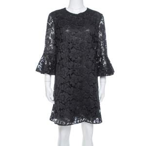 Valentino Black Cotton Lace Bell Sleeve Detail Shift Dress M