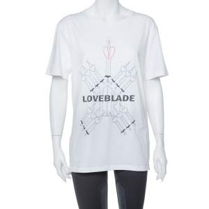 Valentino White Love Blade Print Cotton Crew Neck T-Shirt M