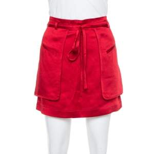 Valentino Berry Red Satin Waist Tie Detail Cargo Mini Skirt S