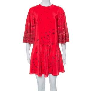 Valentino Red Bird Printed Silk Bell Sleeve Detail Flared Dress S