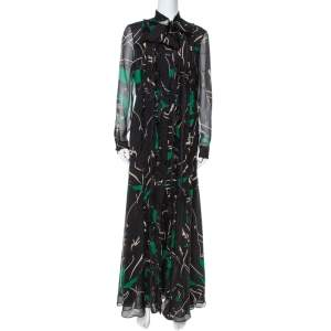 Valentino Black & Green Panther Printed Silk Crepe Tie Collar Detail Maxi Dress M