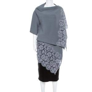 Valentino Grey Rib Knit & Lace Trim Wrap Cardigan XL