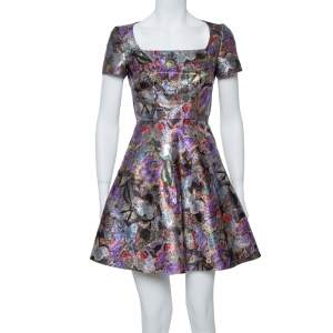 Valentino Multicolor Metallic Lurex Jacquard Butterfly Pattern A Line Dress M