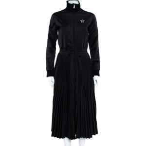 Valentino Black Logo Printed Jersey Zipper Front Pleated Maxi Dress L