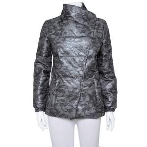 Valentino Black Synthetic Floral Lace Detail Synthetic Wind Jacket M