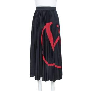 Valentino Black Logo Printed Jersey Pleated Midi Skirt L