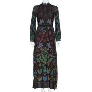 Valentino Black Watersong Printed Silk & Lace Trim Maxi Dress M