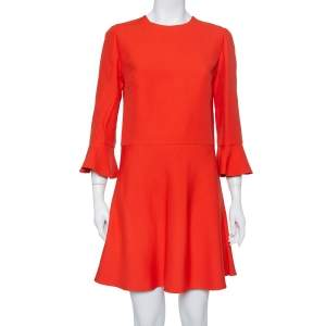 Valentino Burnt Orange Cotton Drop Waist Flared Dress L