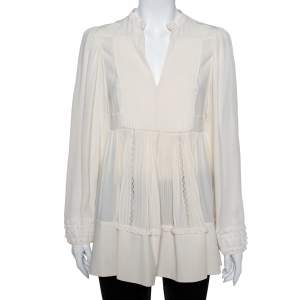 Valentino Cream Silk & Lace Pintuck Detail Tunic M