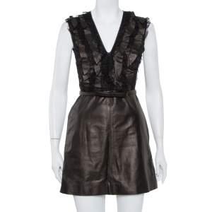فستان فالنتينو قصير بحزام مزين منفوش  دانتسل و جلد بني مقاس صغير (سمول)