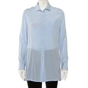 قميص فالنتينو مزين ظهر مكشوف أزرار أمامية حرير مقلم أزرق مقاس وسط (ميديوم)