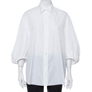تنورة فالنتينو قطن أبيض أكمام منفوخة أزرار أمامية مقاس متوسط - ميديوم