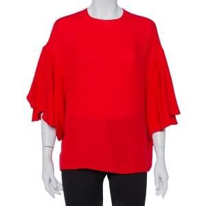 توب فالنتينو حرير أحمر أكمام واسعة مقاس متوسط - ميديوم