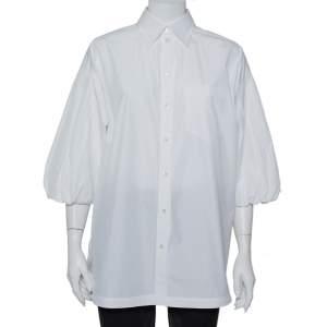 قميص فالنتينو أكمام منفوخة طيات كبير الحجم قطن بيضاء مقاس وسط (ميديوم)