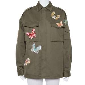 Valentino Green Canvas Sequined Butterfly Applique Cargo Pocket Detail Jacket M