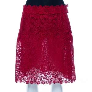 تنورة فالنتينو دانتيل أحمر قصيرة مقاس كبير - لارج