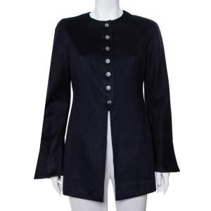 Valentino Boutique Midnight Blue Cashmere Button Front Collarless Vintage Jacket L