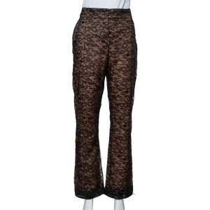 Valentino Black Lace Overlay Flared Trousers L