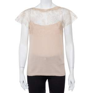 Valentino Beige Wool Knit Sheer Lace Yoke Top L
