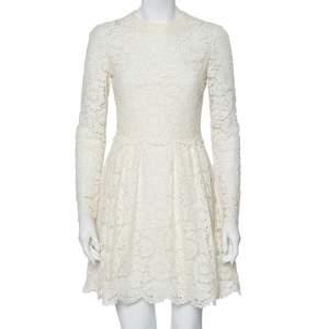فستان ميني فالنتينو دانتيل أوف وايت أكمام طويلة مقاس صغير - سمول