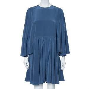 Valentino Turkish Blue Silk Cape Sleeve Detail Mini Dress L
