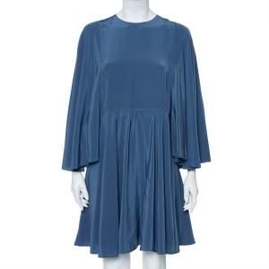فستان ميني فالنتينو حرير أزرق تركي بأكمام واسعة مقاس كبير - لارج