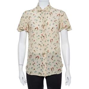 Valentino Cream Floral Printed Silk Button Front Shirt S