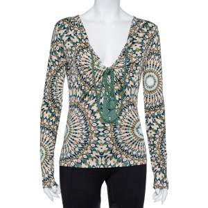 Valentino Multicolor Printed Knit Front Tie Detail Top L