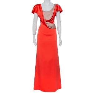 Valentino Orange Satin Draped Neck Detail Maxi Dress XL
