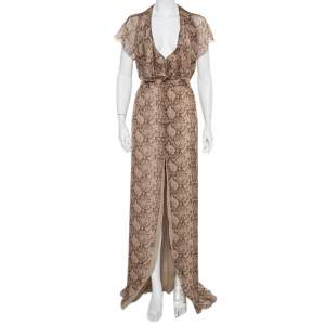 Valentino Beige Snakeskin Printed Silk Ruffled Halter Neck Maxi Dress M