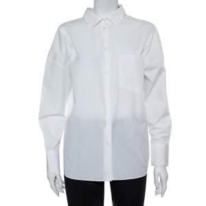 Valentino White Cotton Back Tie Detail Button Front Shirt S
