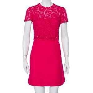 فستان ميني فالنتينو تفاصيل خصر روكستد نمط متعرج دانتيل وصوف وردي مقاس متوسط