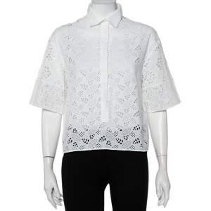 قميص فالنتينو أزرار أمامية ياقة دانتيل حلقة أبيض مقاس متوسط