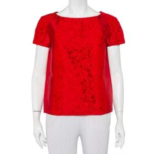 Valentino Red Silk & Lace Paneled Oversized Top S