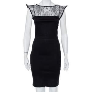 Valentino Black Knit & Lace Paneled Sheath Dress M