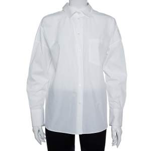 Valentino White Cotton Neck Tie Detail Oversized Shirt S