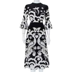 Valentino Black Phoenix Printed Silk Midi Dress M