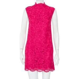 فستان فالنتينو دانتيل وردي بفيونكة عنق مرتفع مقاس صغير - سمول