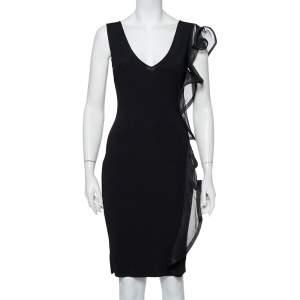 Valentino Black Knit Structured Ruffle Detail Sheath Dress S