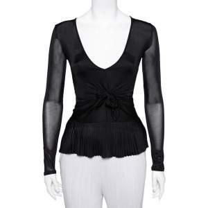 Valentino Black Jersey Plisse Detail Plunge Neck Top M