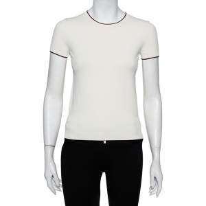 Valentino Off White Knit Contrast Trim Detail Sweater S