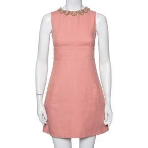Valentino Pink Linen Embellished Neck Detail Sleeveless Sheath Dress S