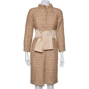 Valentino Cream Lurex Tweed Mid Length Coat S