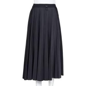 Valentino Black Logo Printed Knit Pleated Midi Skirt M