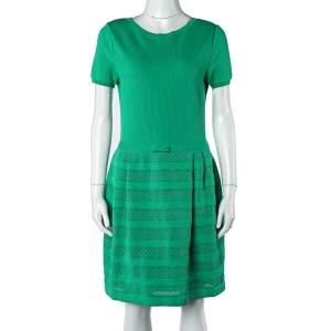 Valentino Green Textured Knit Pleated Dress L