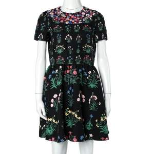 Valentino Black Floral Print Wool & Silk Mini Dress M