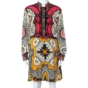 Valentino Multicolor Floral Print Silk Button Up Dress M