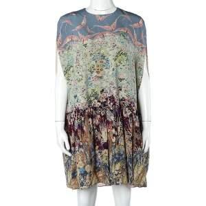 Valentino Multicolor Bird Floral Landscape Print Silk Cape Short Dress M