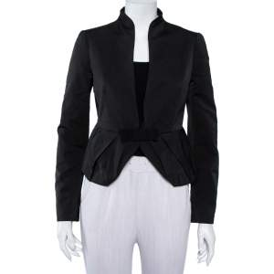 Valentino Black Synthetic Bow Detail Button Front Jacket S
