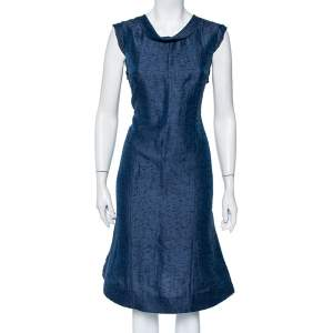 Valentino Navy Blue Textured Jacquard Draped Neck Midi Dress XL